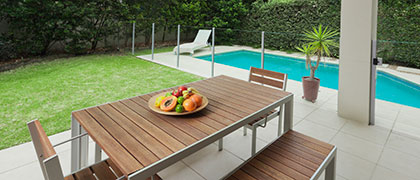 Modern glass pool fencing